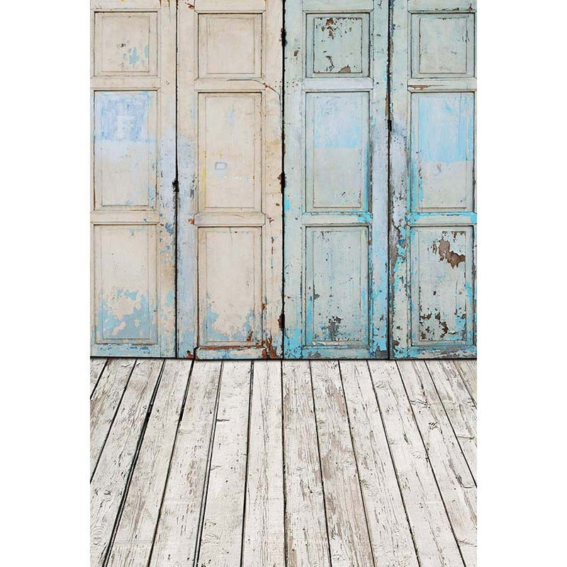 Vintage Door Photography Backdrops Light Blue Wooden Board Floor Photo Background for Photo Studio Photographic Props