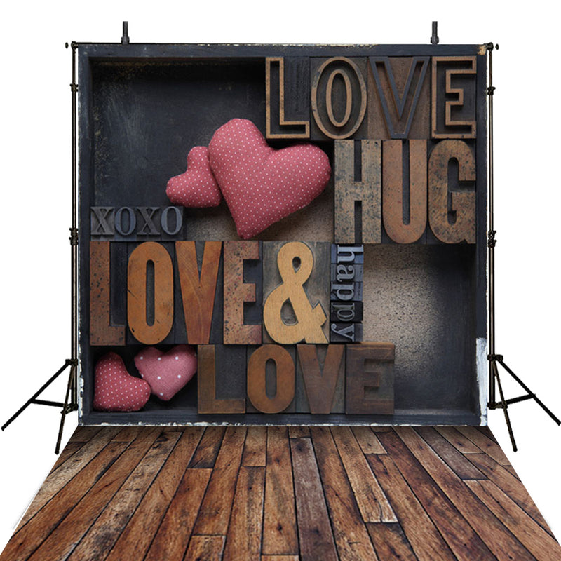 Valentine Party Photography Backdrops Large Wood Floor Photo Props Pink Love Heart Valentine's Day Background Photo Studio