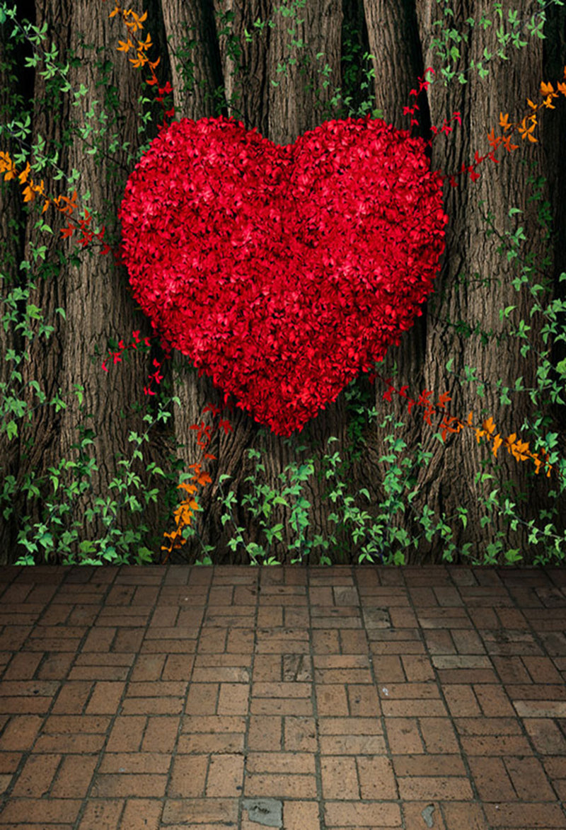 Customize Valentine Party Photography Backdrops Brick Photo Props Big Red Heart Valentine's Day Background Photo Studio