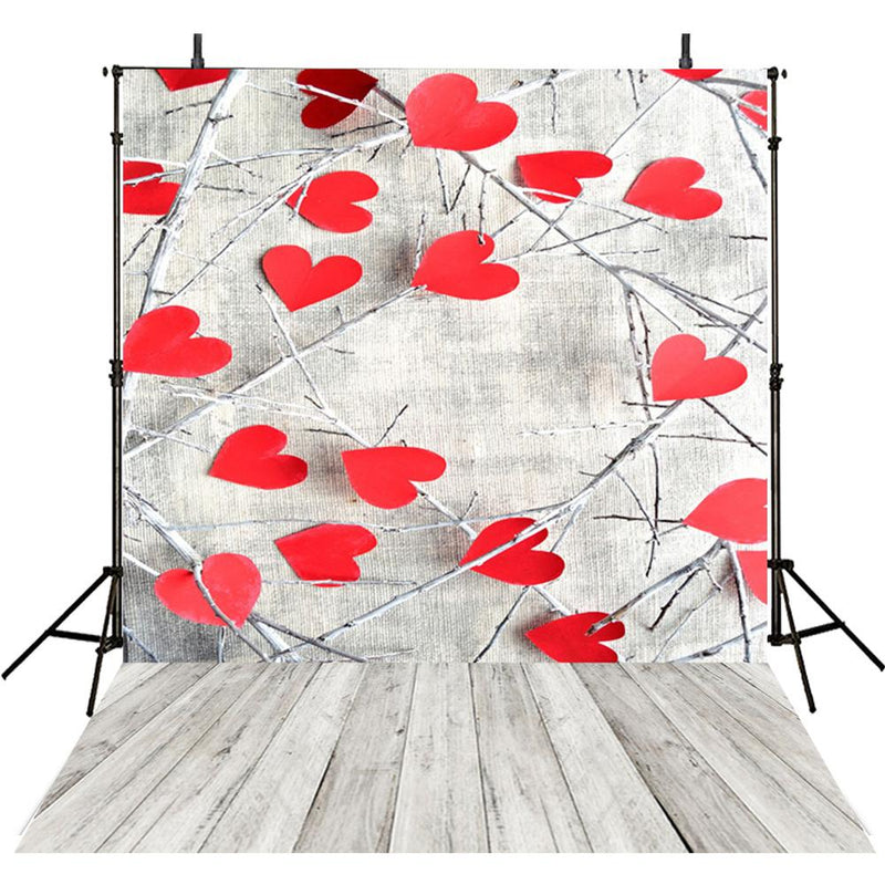 Valentine Party Photography Backdrops Wood Floor Photo Props Baby Shower Red Heart Valentine's Day Background Photo Studio