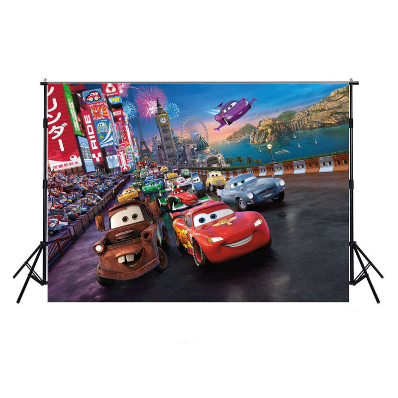 photo background Racing car-photo backdrops cartoon-photo background film party-Movie theme backdrop for picture-backdrop for pictures superhero