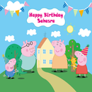 Customize Name Peppa Pig Photography Backdrops Cartoon Backdrop For Photography Vinyl Photo Backdrops Kids Background For Photo Studio