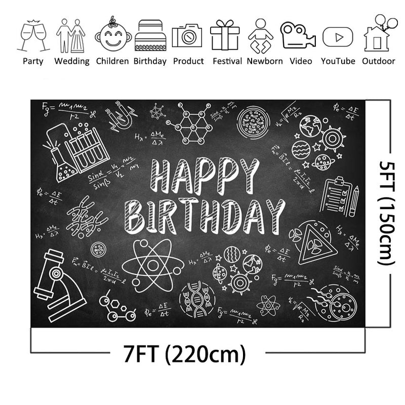 Science Theme Party Backdrop The Scientist Laboratory Blackboard Photo Background Happy Birthday Decoration