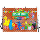 Happy Birthday Brick Wall Sesame Street Photo Backdrops Boy Girl 1st 2nd 3rd Birthday Party Photography Backgrounds Baby Shower Dessert Cake Table Decor Vinyl