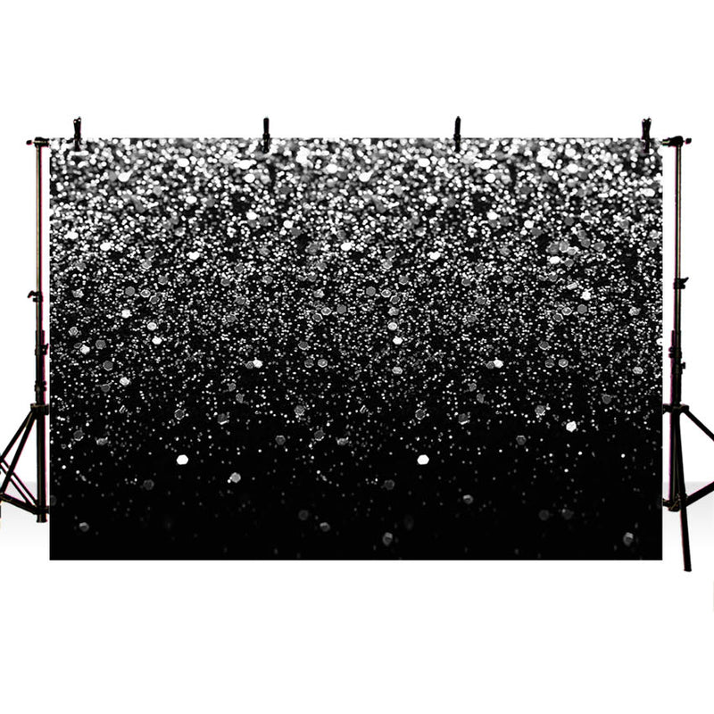 Sliver Bokeh Spots Backdrop Silver Black Birthday Decoration Graduation Wedding Party Events Glitter Dots Photo Booth Background