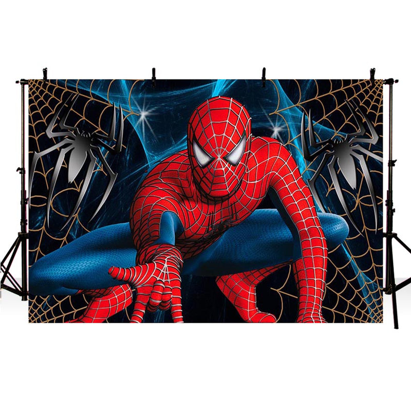 Spiderman Photography Backdrop Superman Boy Children Birthday Party Background Banner Photo Studio Backdrop Photo Prop