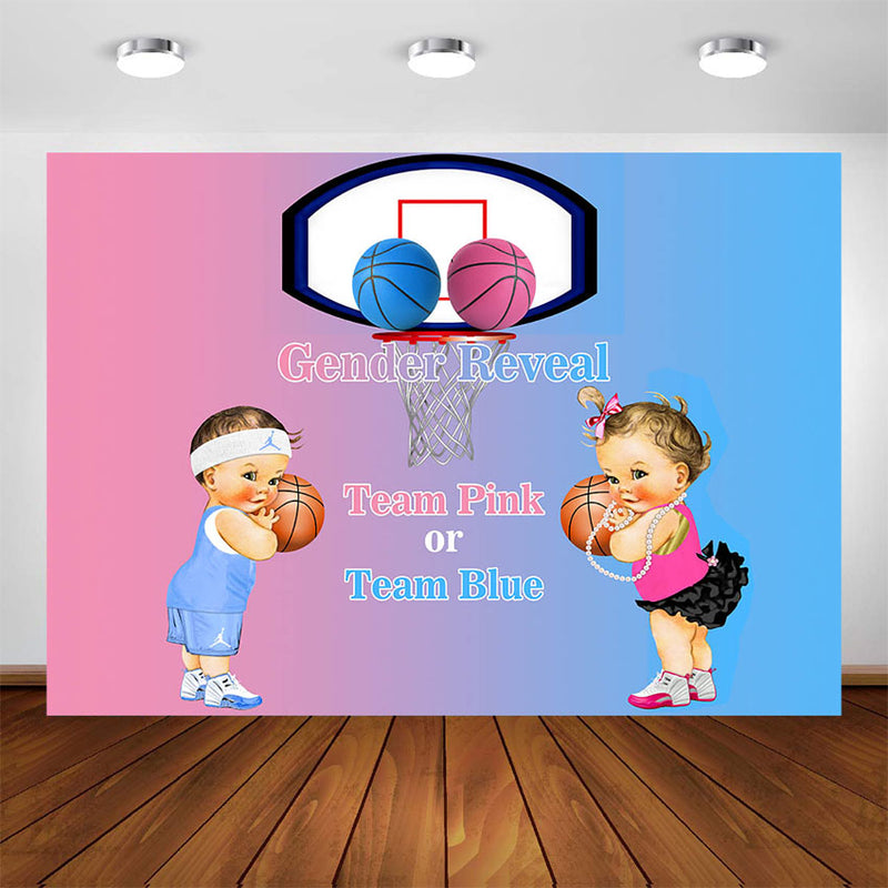 Sports Theme Gender Reveal Party Decoration Backdrop Twins Basketball Boy and Girl Pink Blue Photo Background Party Supplies