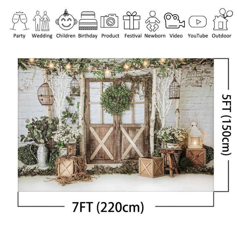 Spring Backdrop White Brick Wall Newborn Baby Kids Photography Background Wood Door Green Garland Photo Studio Backdrops