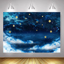 Starry Sky Photography Backdrop for Photo Studio Natural Blue Night Twinkle Newborn Golden Little Star Birthday Photo Background