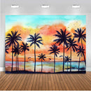 Summer Holiday Backdrop for Photography Palm Tree Oil Painting Abstract Background for Photo Booth Studio Computer Printed