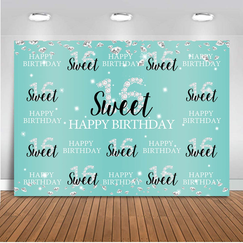 Sweet 16 Backdrop for Photography Girl Children Happy Birthday Blue Party Background for Photo Booth Decoration Supplies Prop