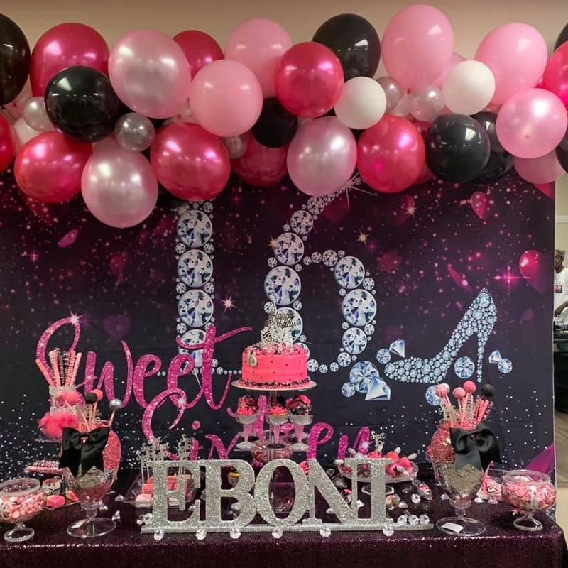 Sweet Sixteen Backdrop Girl's 16th Birthday Diamond Pink Heart Ribbon High-Heel Photography Background Party Banner