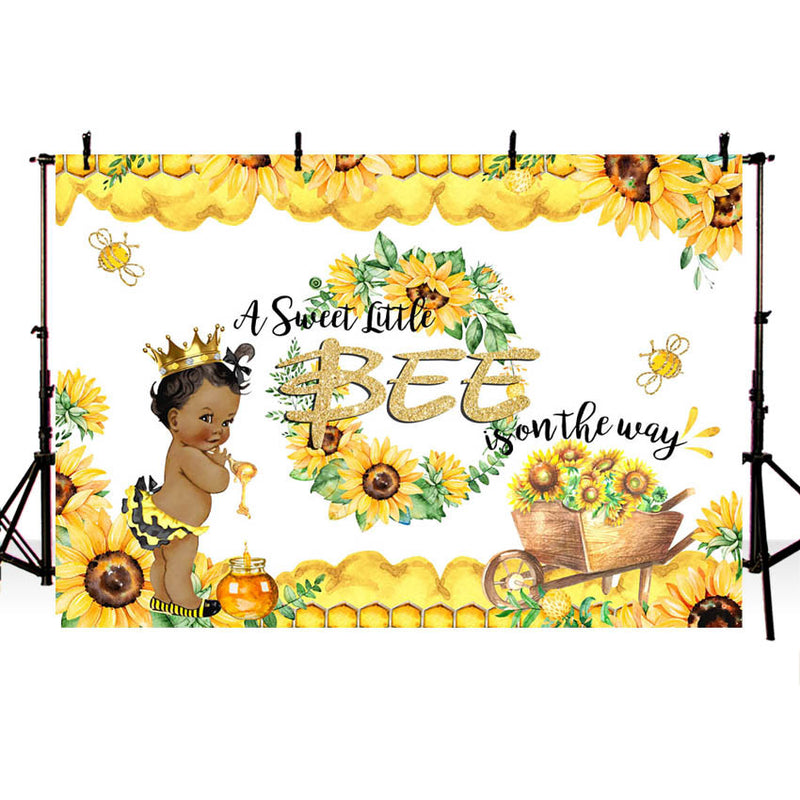 Sweet Bee Baby Shower Backdrop A Little Bee Boy Baby Shower Honey Bumble Bee Sunflower Party Decoration Background Photography