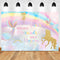 Sweet Mermaid Unicorn Theme Photo Background Dance Rainbow Watercolor Gold Glitter Stars Girls Birthday Cake Table Backdrop