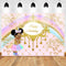Sweet Rainbow Birthday Theme Photography Backdrops Royal Princess Unicorn Gold Pink Birthday Party Banner Decoration