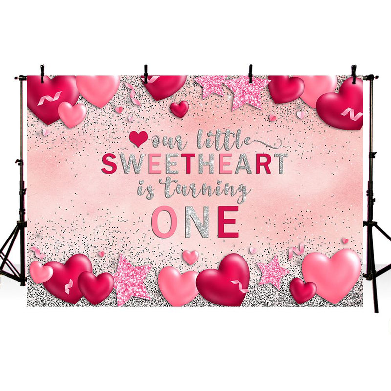 Sweetheart Backdrop for photography newborn baby shower background for photo booth studio Valentine's Day Red Heart Backdrops