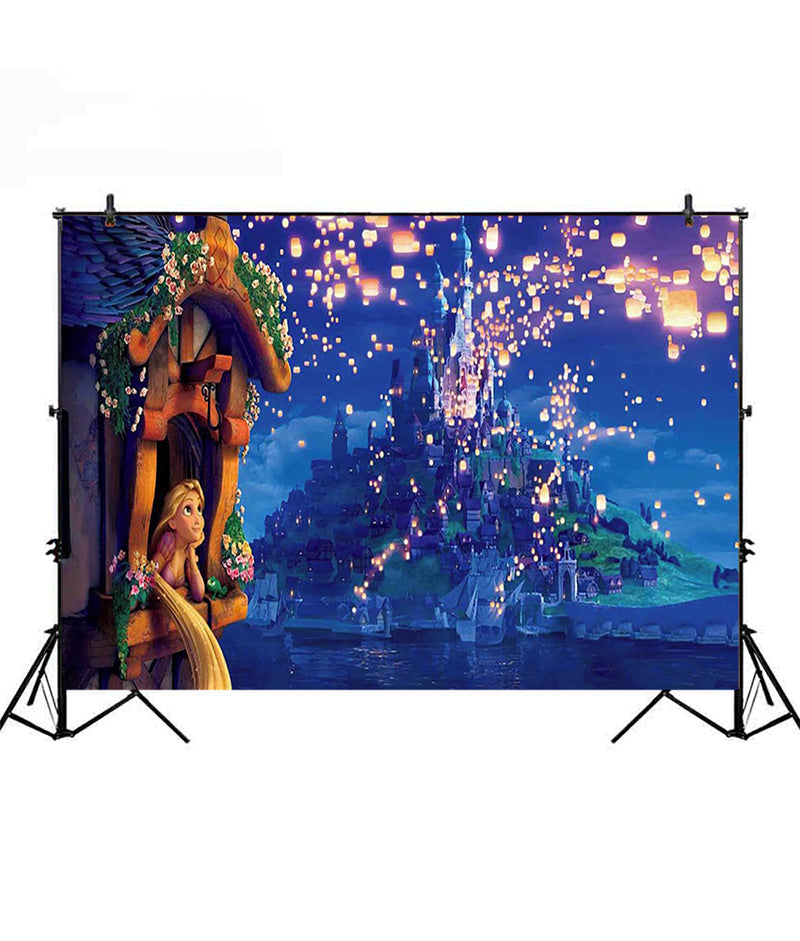 Tangled Rapunzel princess backdrop for photography Boat Horse Sparkles photo studio for background children birthday party