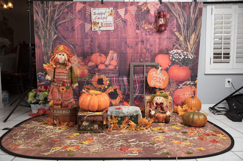 Thanksgiving Photography Backdrop Halloween Rustic Wooden Floor Barn Harvest Background Autumn Pumpkins Maple Leaves Sunflower Baby Portrait Party Decoration Photo Studio