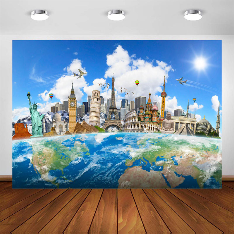 Travel World Backdrop Famous Architecture Wedding Birthday Background Eiffel Tower Map Photo Studio Background for Photography