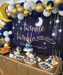 Twinkle Twinkle Little Star Backdrop Shinning Star and Moon Galaxy Navy Blue Photography Background Glitter Little Star Birthday