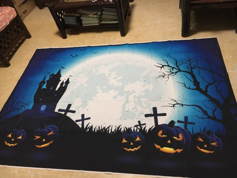 Photography Background Halloween Horrible Pumpkin Haunted House Full-moon Bats Decoration Photo Studio Backdrop Photocall
