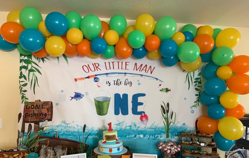 Gone Fishing Birthday Backdrop for Photography The Big One Boy Fish 1st Birthday Background Sea Grass Fishing Party