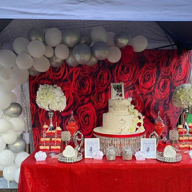 Valentine's Day Rose Wall Photo Shoot Background Red Rose Wedding Photography Backdrop Birthday Decoration Party 275