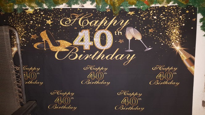 Vinyl Photography Background Gold Black Glitter Women Luxury Lady 40th Birthday Party High Heels Decor Backdrop Photo Studio