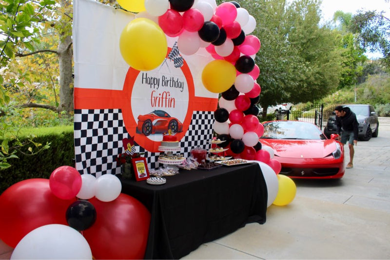 Customize Name Race Car Birthday Backdrop  Red Race Car Boy Racing Children Party Decorations Background