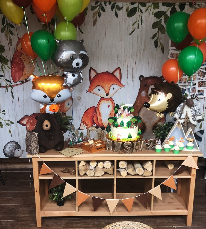 Animals newborn baby shower photo background Woodland Birthday party decoration banner fox bear backdrop for photography studio