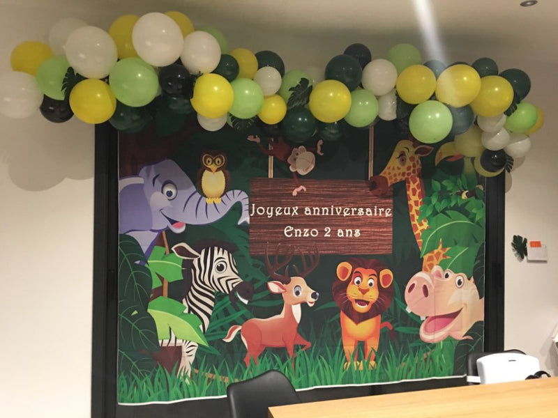 Background Photography Jungle Safari Party animals cartoon leaves forest photo backdrop Birthday Party photocall Studio