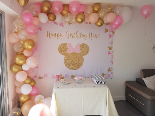 Pink Minnie mouse backdrop for photography custom birthday background for photo studio Birthday Party Personalised