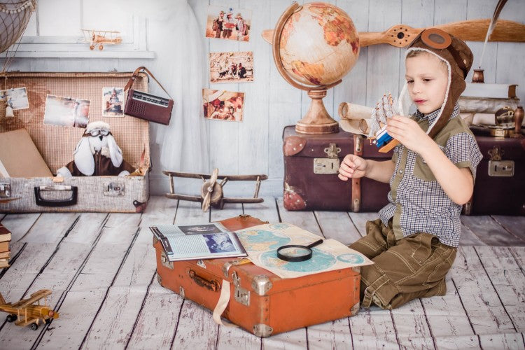 Vinyl Photography Background World Map globe Newborn Baby Room Toy Traveling Earth Case Computer Print Children Backdrops for Photo Studio