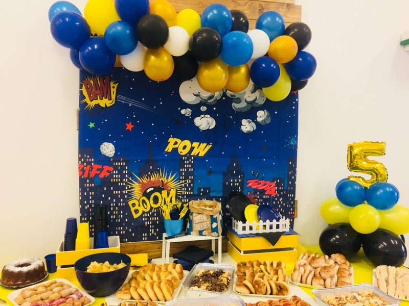 Super Hero Theme Backdrop for Photography Boom Birthday Party Banner Props for Boys Night Shiny Stars Cloud Buildings Pow Biff