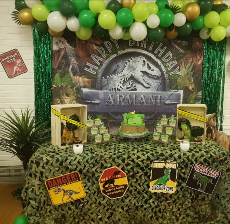Custom Name Animals Photography Backdrops Children Jurassic Park World Dinosaur Birthday Background Party Backdrops Photo Studio
