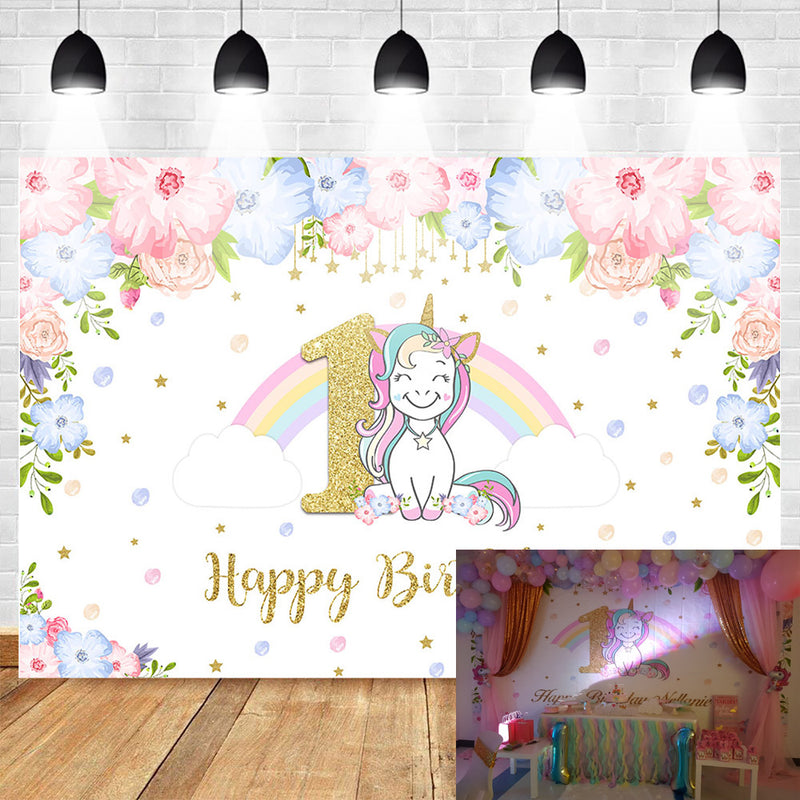 unicorn-themed-1st-birthday-party-photo-background-rainbow-glitter-stars-flower-photography-backdrops-cake-table-banner