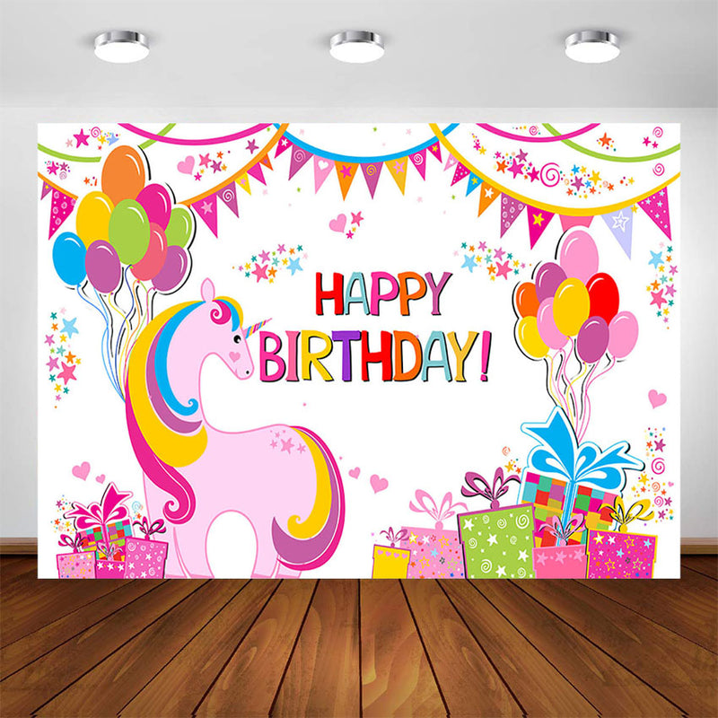 Unicorn Themed Birthday Party Decorations Backdrop Rainbow Unicorn Happy Birthday Party Banner Children Background Photocall