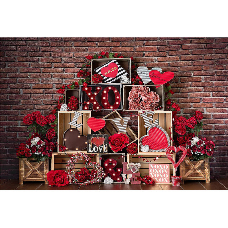 Valentine's Day Backdrop Brick Wall Photography Romantic Wedding Red Rose Love Background Decoration Couple Portrait Photo Shoot