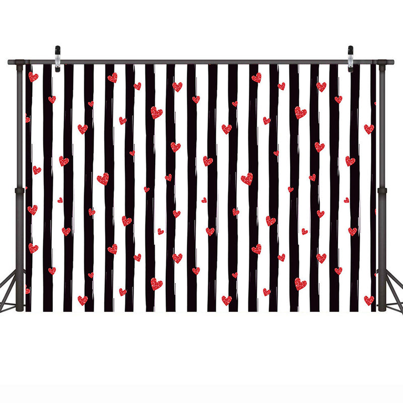 Valentine's Day Backdrop for Photography Red Heart Black White Stripes Wedding Photo Background for Photo Studio Supplies Props Photocall