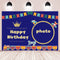 Vinyl Photography Background Backdrop Blue Custom Happy Birthday Decoration for Boy Train Plane Golden Crown Bunting