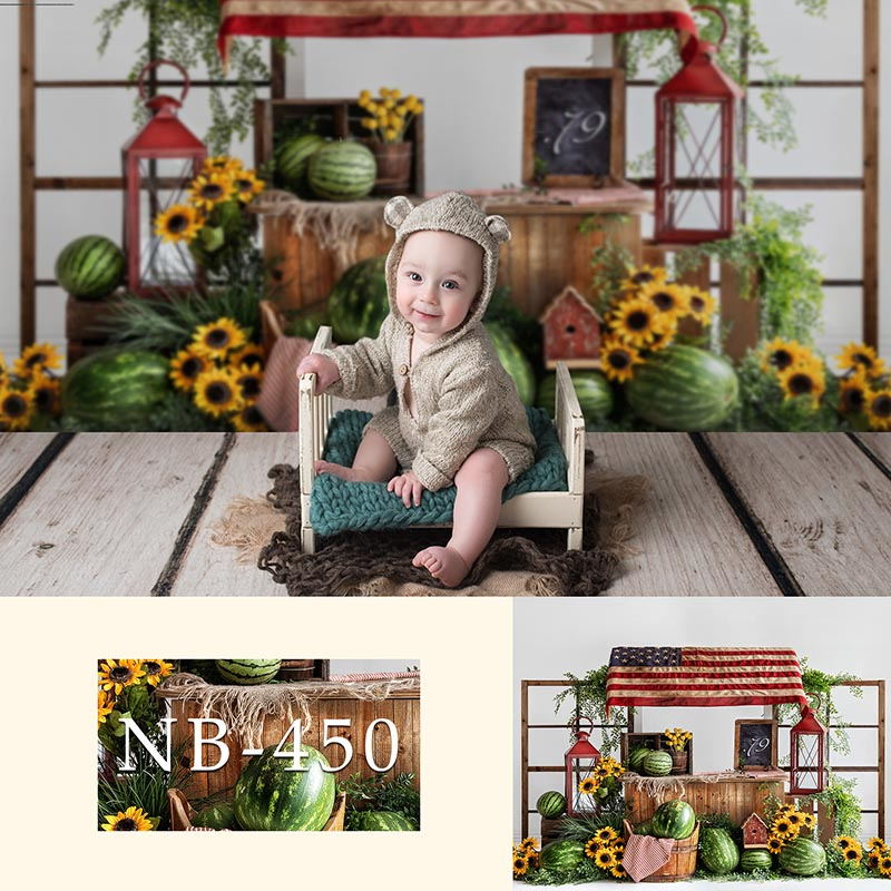 Watermelon Sunflower Theme Photography Backdrop Newborn Baby Photo Background Child Birthday Banner Baby Shower Photo Booth