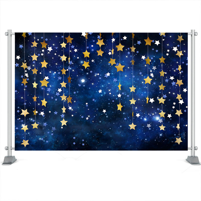 Twinkle Twinkle Little Star Photography Backdrop Baby Cake Desk Gold Stars Backdrop Navy Blue Night Sky Party Background