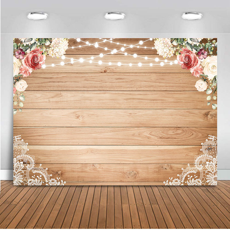 Wedding backdrop for Photography Bridal Shower Party Decoration Background for Photo Studio Wooden Flower Wall Photocall Prop