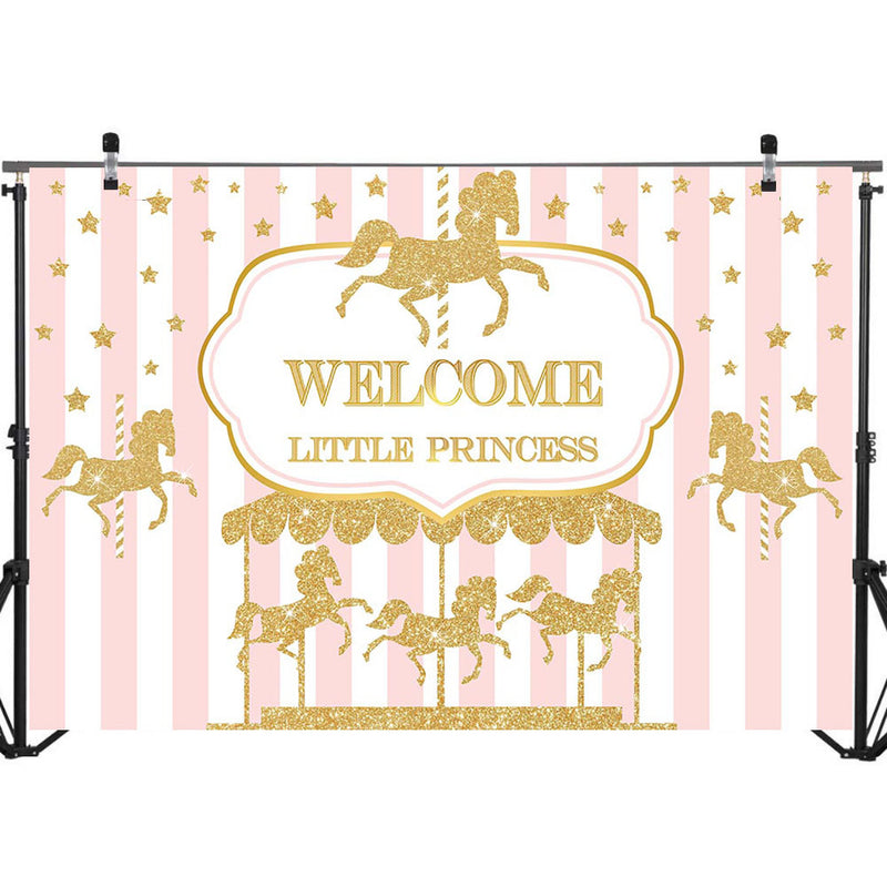 Welcome Little Princess Baby Shower Backdrop Gold Carousel Baby Shower Photo Background Pink White Stripe Photography Backdrops