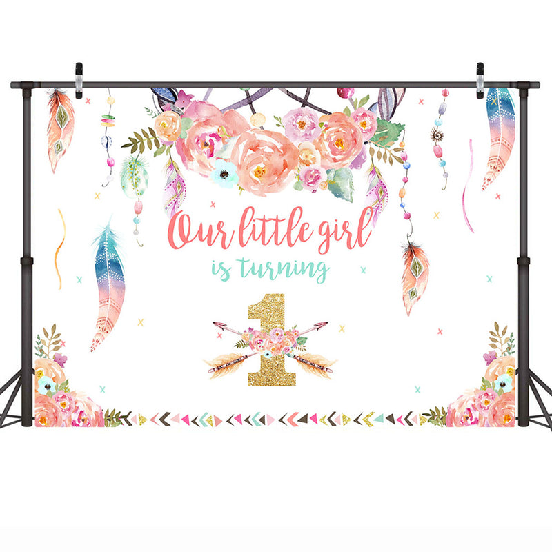 Wild One Birthday Backdrop Photo 1st Birthday Part Dreamcatcher Girl Photography Background Boho Cake Table Photo Backdrops