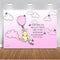 Classic Winnie The Pooh Backdrop Baby Shower Pink Girls Birthday Background Hot Air with White Clouds Backgrounds for 1st Birthday Butterfly Vinyl Backgrounds Party Decoration