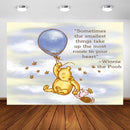 Winnie the Pooh Photography Backdrop Winnie Bear Themed Blue Sky White Clouds Balloons Background Party Decor Photocall Custom