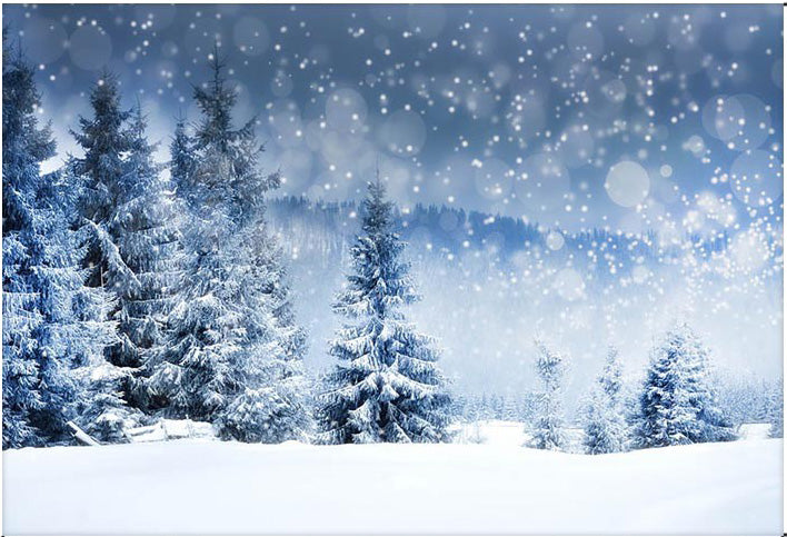 Winter Backdrops Forest Bokeh Photographic Background Snow Flake Photographic Backdrops for Photo Studio