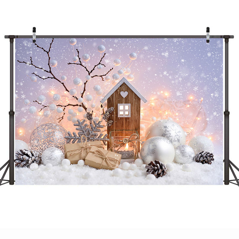 Winter Snow Backdrop for Photography Photocall Christmas Snowflake Wood House Background Christmas Gifts Balls Newborn Portrait