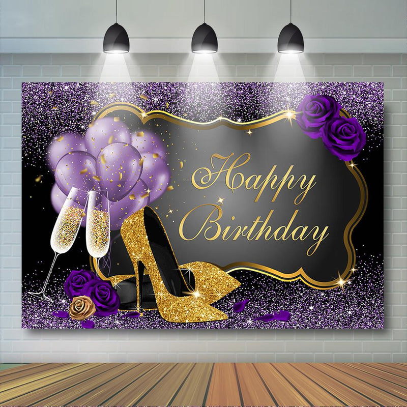 Women Birthday Party Backdrop Rose Shiny Sequin High Heels Purple Golden Background Adults Women Happy 30th 40th 50th Birthday Decor